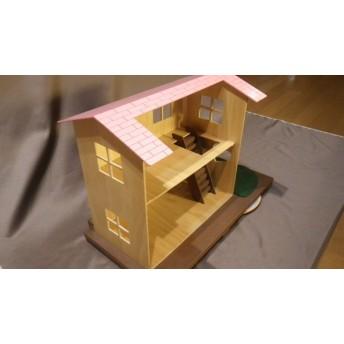 ドールハウス★LED照明付き・ピンク屋根★ミニハウス
