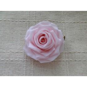 つまみ細工 バラのブローチ&ヘアクリップ(桃色)