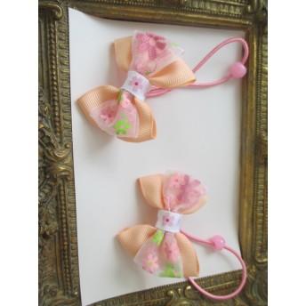 再販 花柄 オーガンジー&シフォンさくら薄ピンクへアゴム2点