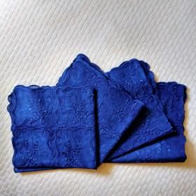 藍染め レースハンカチ 刺繍 ローズマリー