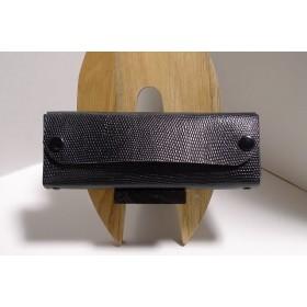 再版 黒リザード型押し革のペンケース