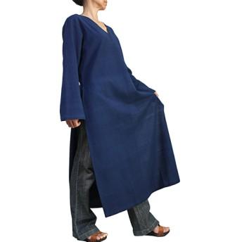 ジョムトン手織り綿のカミーズドレス インディゴ(DRL-010-03)