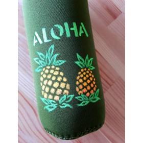ALOHA ハワイアンペットボトルカバー 深緑