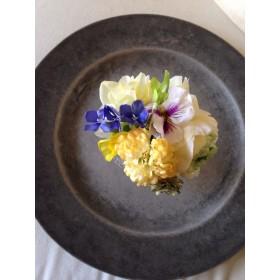 レモンイエローの花を集めたコサージュ*spring head dress & corsage No.41