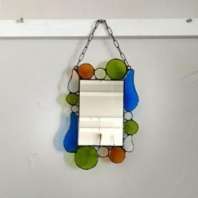〘ステンドグラス吊り下げ鏡*雫〙