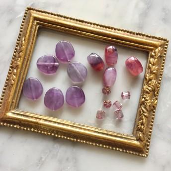 アクリルビーズ 変形パープルなど紫シリーズ チェコビーズ マーブル