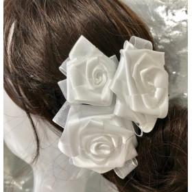 髪飾りUピン3本セット サテンフラワー3ローズ(組み合わせ自由)