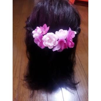 つまみ細工と造花の髪飾り