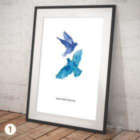 ポスター 水彩画風 青い鳥(サイズ・色・文字入可能)