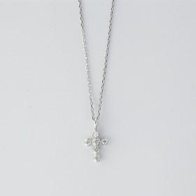 [マルイ] クロスモチーフダイヤモンドネックレス[K10WG/0.05ctup]/東京ジュエリーインデックス(TOKYO JEWELRY INDEX)