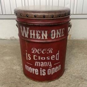送料無料 ペール缶 リメ缶 オイル缶 スツール レッド アンティーク ビンテージ エイジング塗装