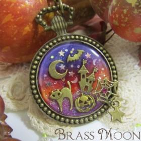 ハロウィン猫の懐中時計キーホルダー