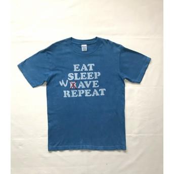 藍染-T EAT SLEEP WAVE REPEAT 食べて寝て波に乗っての繰り返し
