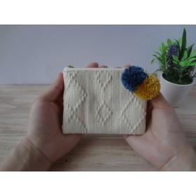 インド綿でつくる フラットポーチmini * ナチュラル