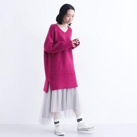 [マルイ]【セール】Vネックモヘアタッチニットチュニック/メルロー(merlot)