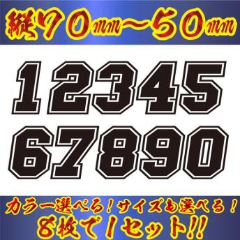 ゼッケン 枠付 ナンバー ステッカー Sサイズ8枚選べる数字と20色