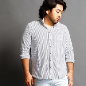 [マルイ]【セール】ストライプカットシャツ/ハイダウェイ(大きいサイズ)(HIDEAWAYS)