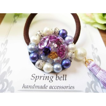 Pearl flower purple rose in the ice ヘアゴム レジン