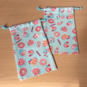 w15×25cm 箸袋はし箱袋コップ袋給食袋 水色スイーツ柄