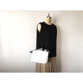 リボントートバッグSサイズ:白×白黒ギンガムチェック