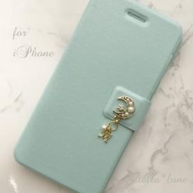 【iPhone】選べる誕生石&イニシャル*パールムーン手帳型ケース