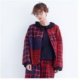 [マルイ] チェック柄ドッキングノーカラージャケット/メルロー(merlot)