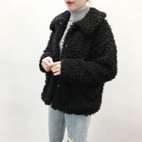 en-en・ソフトカーリーループ・エコファー襟付きジャケット・黒