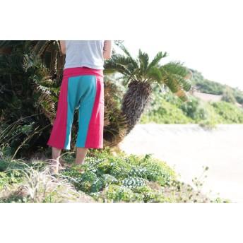 【値下げ】綿麻タイパンツ 7分丈 レッド×サファイヤブルー