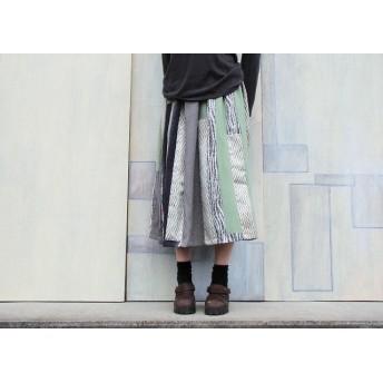 着物リメイクギャザースカート草紫の縦パッチ