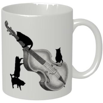 コントラバスと黒猫のマグカップ【楽器ねこシリーズ】