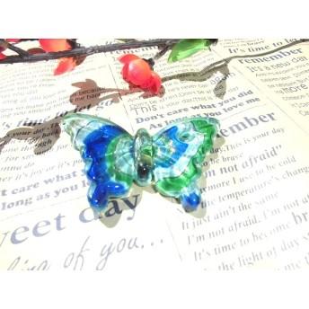 ガラスペンダント 蝶々 ベネチアン風 ペンダントトップ 1個売り 色の選択自由