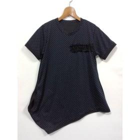 ドット&black バイカラーアシメTシャツ