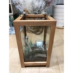 木製ガラスランタン