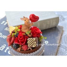 ガラスアレンジ*うさぎのチョコレートケーキ