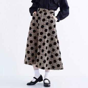 [マルイ]【セール】【plus】フロッキードットAラインスカート/メルロープラス(merlotPLUS)