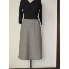 秋冬素材のバイアススカート (茶系ヘリンボーン)