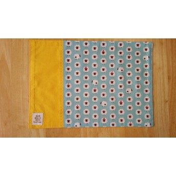 (25×35)ランチョンマット☆ひつじ 水色×黄