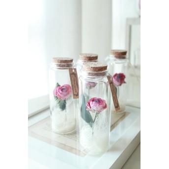 3本セット*ピンク薔薇1輪のドライフラワーボトル