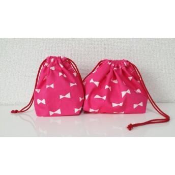 りぼんのお弁当袋&コップ袋☆ピンク