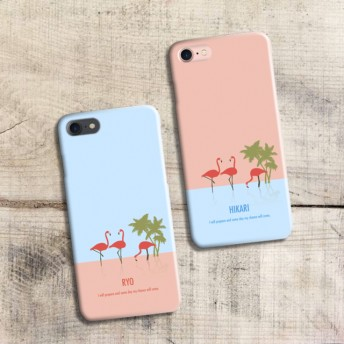 【iPhoneXS】【iPhoneXR】対応 スマホケース お揃い〈フラミンゴ〉ペア 名入れ iPhone おそろい 送料無料