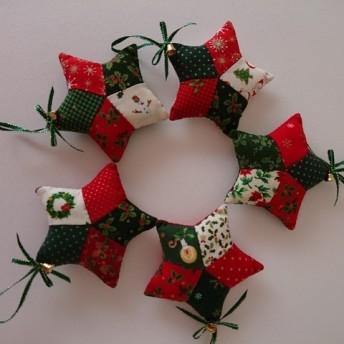 パッチワークのクリスマスオ-ナメント