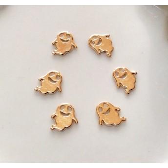 再販 ハロウィンのメタルパーツ おばけ6個セット マット・ゴールド デコ・レジン封入