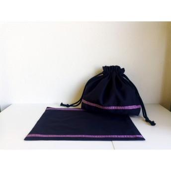 [お受験・通園通学・サイズ変更も]シックなお弁当袋セット ️渋紫シュリンクリボン