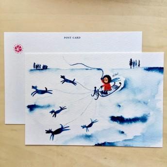 【No.1001】冬 ポストカード2枚セット(犬ぞり)