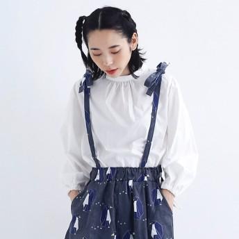 [マルイ]【セール】リボンデザインスタンドカラーコットンブラウス/メルロー(merlot)