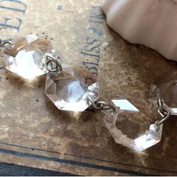 2個セット ヴィンテージ シャンデリアパーツ 17㎜多面Vカットガラス