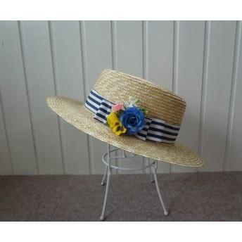 花とお出かけカンカン帽:ちょっとツバ広(ストライプのリボン)