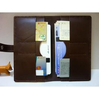 通帳ケース・カードケース・お札入れ・第9作・チョコ色・牛革【送料込み】・財布・キャッシュカード