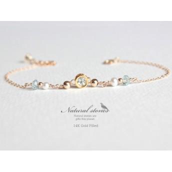 Candy charm Bracelet 14KGF アクアマリン