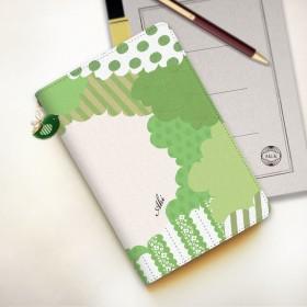 【名入れオーダー】小鳥のタブレットケース グリーン Mサイズ 小鳥チャーム付き